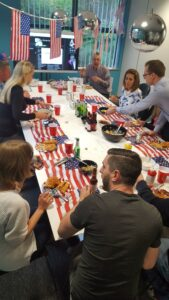 The boardroom was transformed at lunch into America